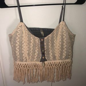 NEVER WORN. Summery crop top with fringes